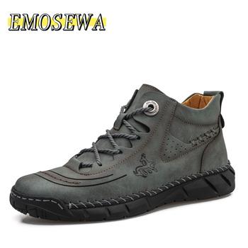Męskie buty nowe wysokiej jakości skórzane męskie buty do kostki nowe męskie oddychające buty jesienne odkryte antypoślizgowe męskie buty motocyklowe tanie i dobre opinie EMOSEWA Pracy i bezpieczeństwa CN (pochodzenie) Prawdziwej skóry Skóra bydlęca ANKLE Stałe Dla dorosłych Cotton Fabric