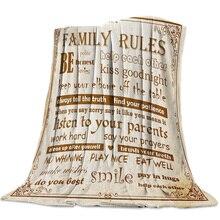 Reglas de La Familia Fondo Vintage manta suave cómoda de terciopelo cobijas de felpa sofá cálido sábanas