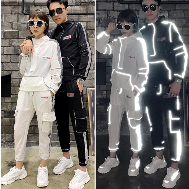 Fashion Hip Hop Singer Dancer Stage Wear Clothing Men 2PCS Reflective Stripe Suits Sets (jacket+pant) Custom Made Cool Male