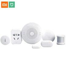 Xiaomi domotique intelligente Mijia 6 en 1 Kit LED passerelle 2 WiFi commutateur Zigbee capteur prise domotica interrupteur domotique