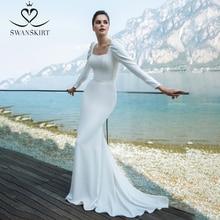 Wedding Dress Elegant Mermaid Square Collar Long Sleeve Satin Vestido de novia 2020 Button Princess Swanskirt GY45 Bridal Gown
