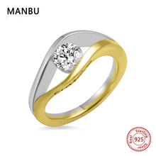MANBU crystal engagement ring for women 925 sterling silver Custom engave Ring Personalized Jewelry for Men Women free shipping manbu personalized custom superman necklace sterling silver chain necklace for women men jewelry anniversary gift free shipping