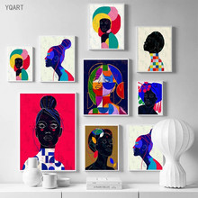 Modern Colorful Posters African Woman Canvas Paintings Abstract Wall Art Posters and Prints Scandinavian Art Picture Home Decor