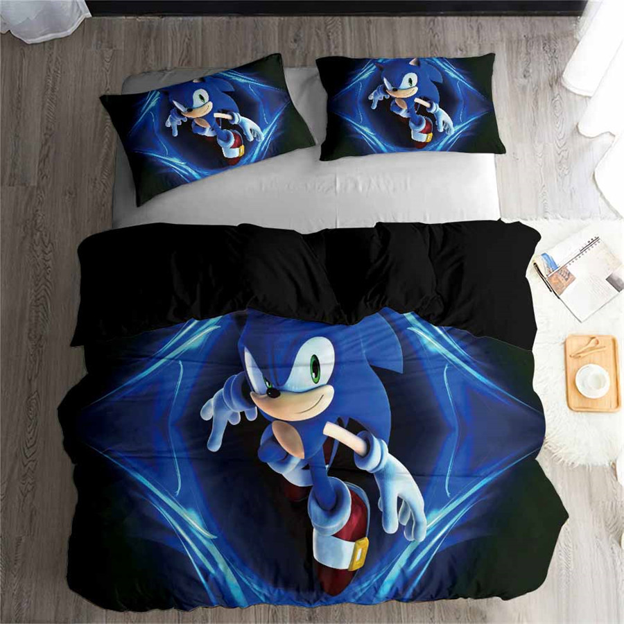 HELENGILI 3D Bedding Set Sonic Print Duvet Cover Set Bedcloth with Pillowcase Bed Set Home Textiles #SONIC04