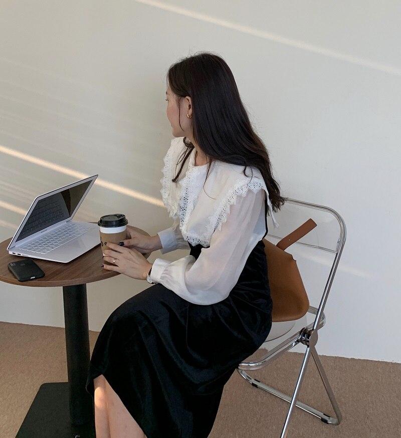 H37c8412a19d240ffb6860da25b7962a2m - Autumn / Winter Puritan Lace Collar Long Sleeves Velvet Patchwork Midi Dress