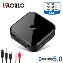 VAORLO Wireless Audio Transmitter Bluetooth 5.0 Receiver Adapter Supprt Connect 2 Devices APTX HD For HeadphoneS TV PC Adaptor