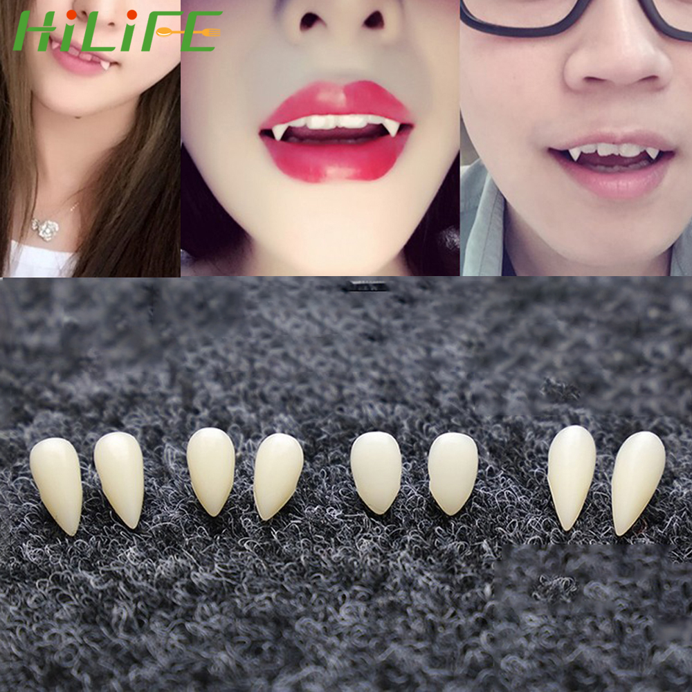 HILIFE 1 Pair Dentures Props Halloween Costume Props Party Environmentally Friendly Resin Vampire Teeth Fangs 4 Size DIY