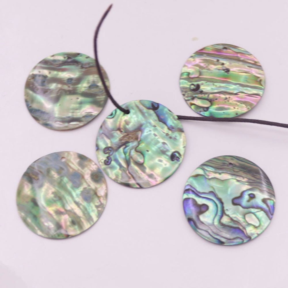 Купить с кэшбэком 5 PCS 30mm Round Coin Natural Green Abalone paua Shell Earring Pendant Making