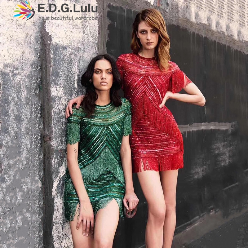 EDGLulu sequin <font><b>dress</b></font> green red party summer <font><b>dress</b></font> 2019 mini fashion runway fringe <font><b>dress</b></font> image