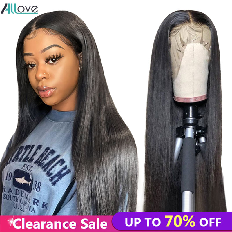Allove Straight Human Hair Wigs Pre Plucked Lace Front Human Hair Wigs With Baby Hair 13X4 Brazilian Hair Wigs For Black Women