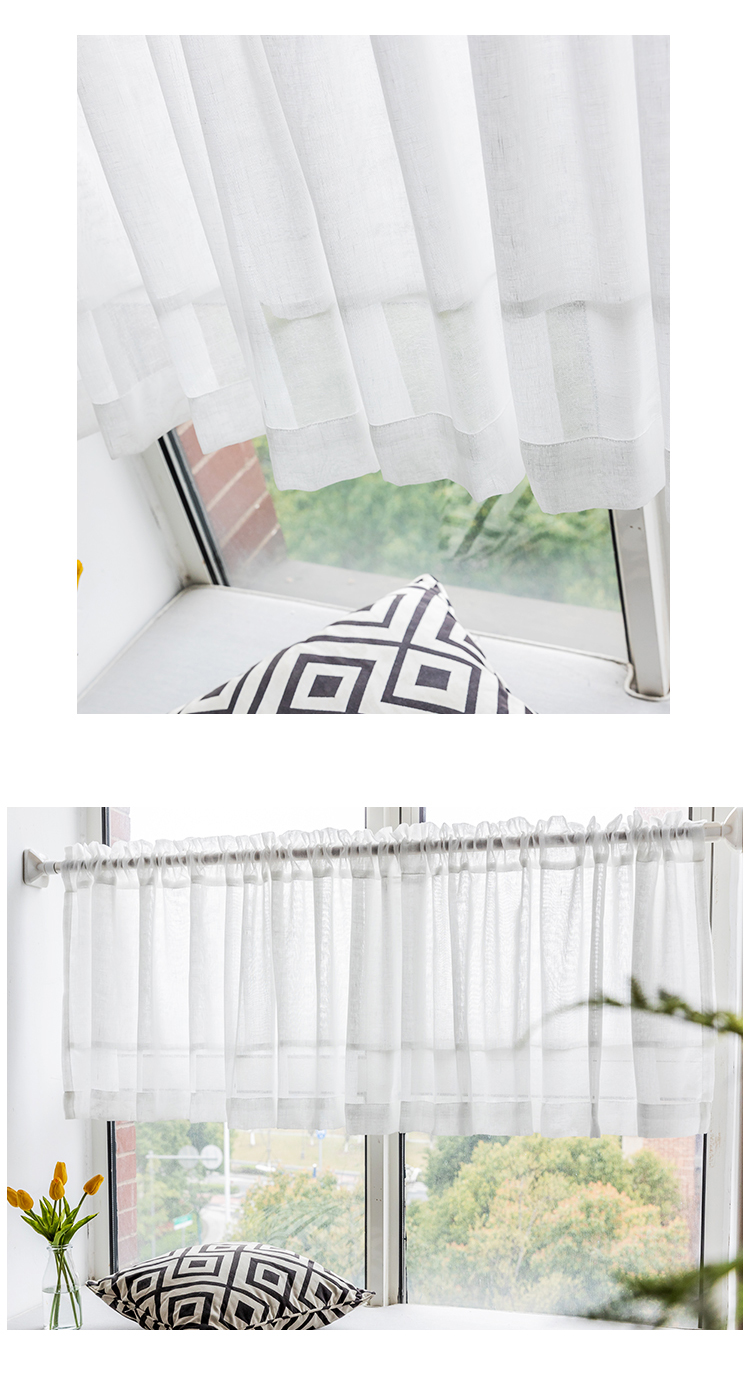 CITYINCITY Half Curtain for kitchen Transparent Sheer Tulle Short door Curtain for barHome Decor Customized