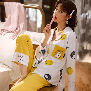 Image 2 - Sonbahar kış yeni ev giyim uzun kollu pamuklu pijama rahat uyku seti 2 adet gecelik pijama pijama takım elbise sevimli ev tekstili