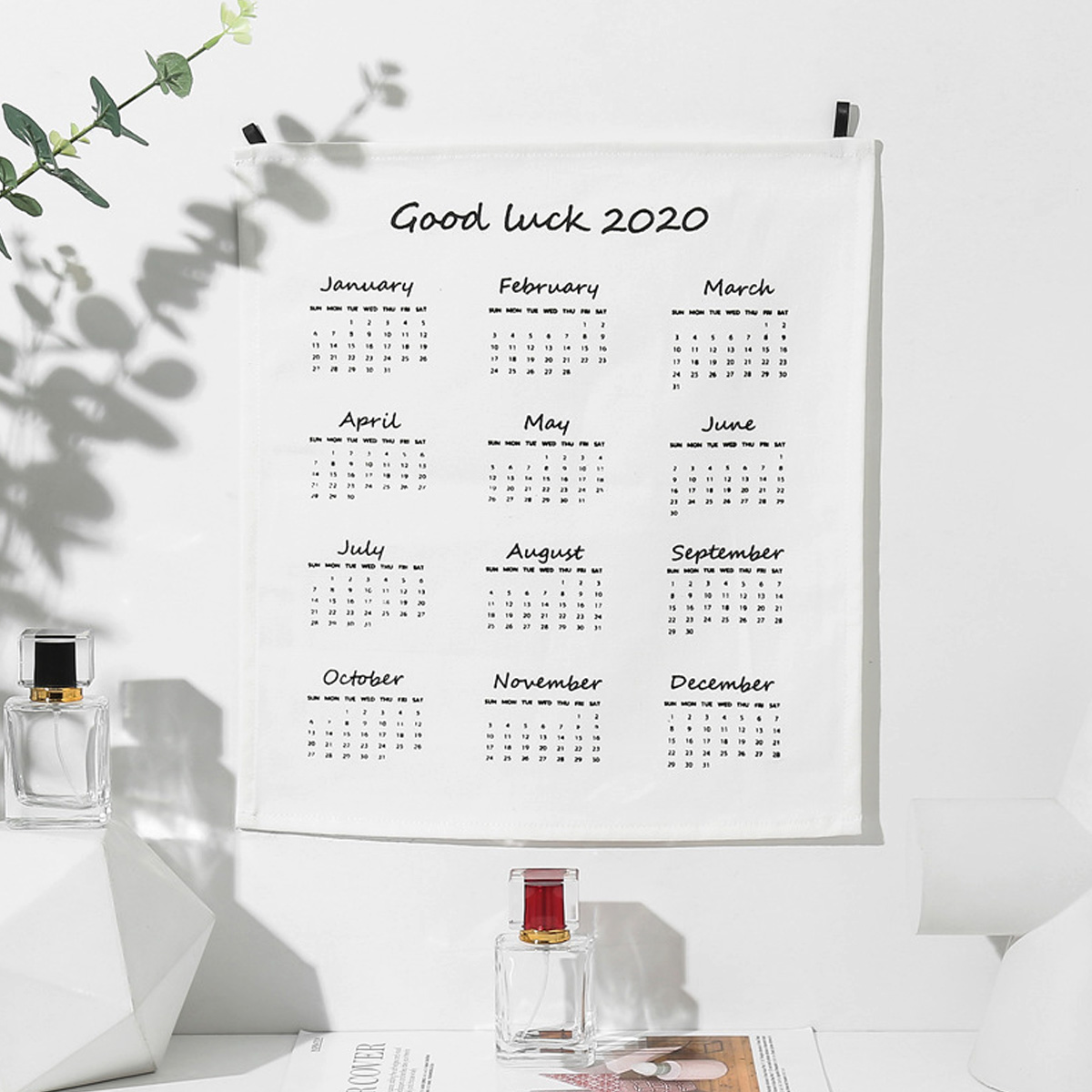2020 Wall Calendar Fabric Printed Calendar Clock Yearly Diary Study Planner Advent Calendar Wall Hanging Calendar Home Office