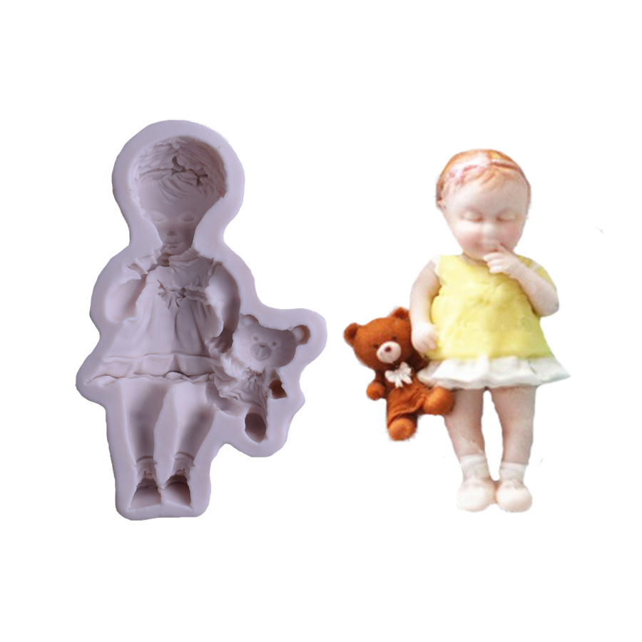 3D Girl baby Doll Bear <font><b>Silicone</b></font> <font><b>Cake</b></font> <font><b>Mold</b></font> Baby Party <font><b>Fondant</b></font> <font><b>Cake</b></font> <font><b>Decorating</b></font> <font><b>Tools</b></font> Cupcake Chocolate Baking Moulds image
