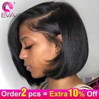 Eva Courte Dentelle Avant Cheveux Humains Perruques Avec Bébé Cheveux Raides Brésiliens Bob Dentelle Avant Perruques Pour Les Femmes Noires Cheveux Remy