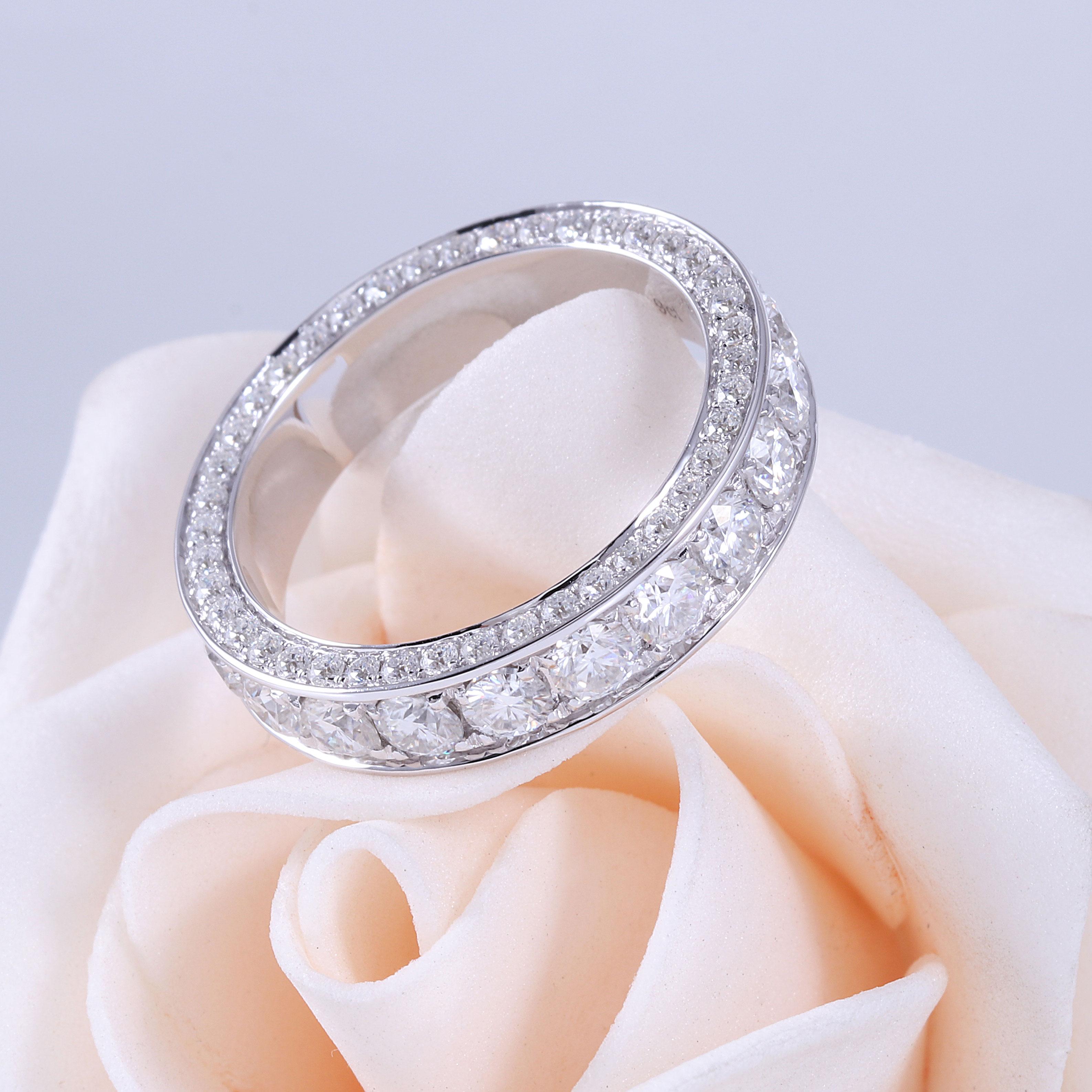 Transagems 14K białe złoto F kolor Moissanite wieczność rocznica Wedding Band pierścionek zaręczynowy dla kobiet i mężczyzn biżuteria w Pierścionki od Biżuteria i akcesoria na  Grupa 3