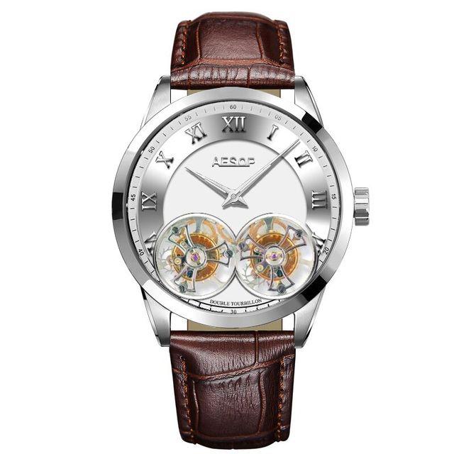 AESOP Double Tourbillon Movement Men's Mechanical Watches Male Skeleton Watch for Men Man Luxury Clocks Luxury  2