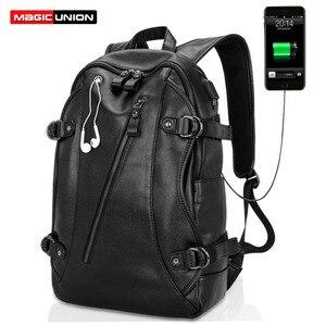 Image 1 - Erkek rahat okul Bookbag adam sırt çantası PU deri çanta su geçirmez omuz çantaları okul Packsack