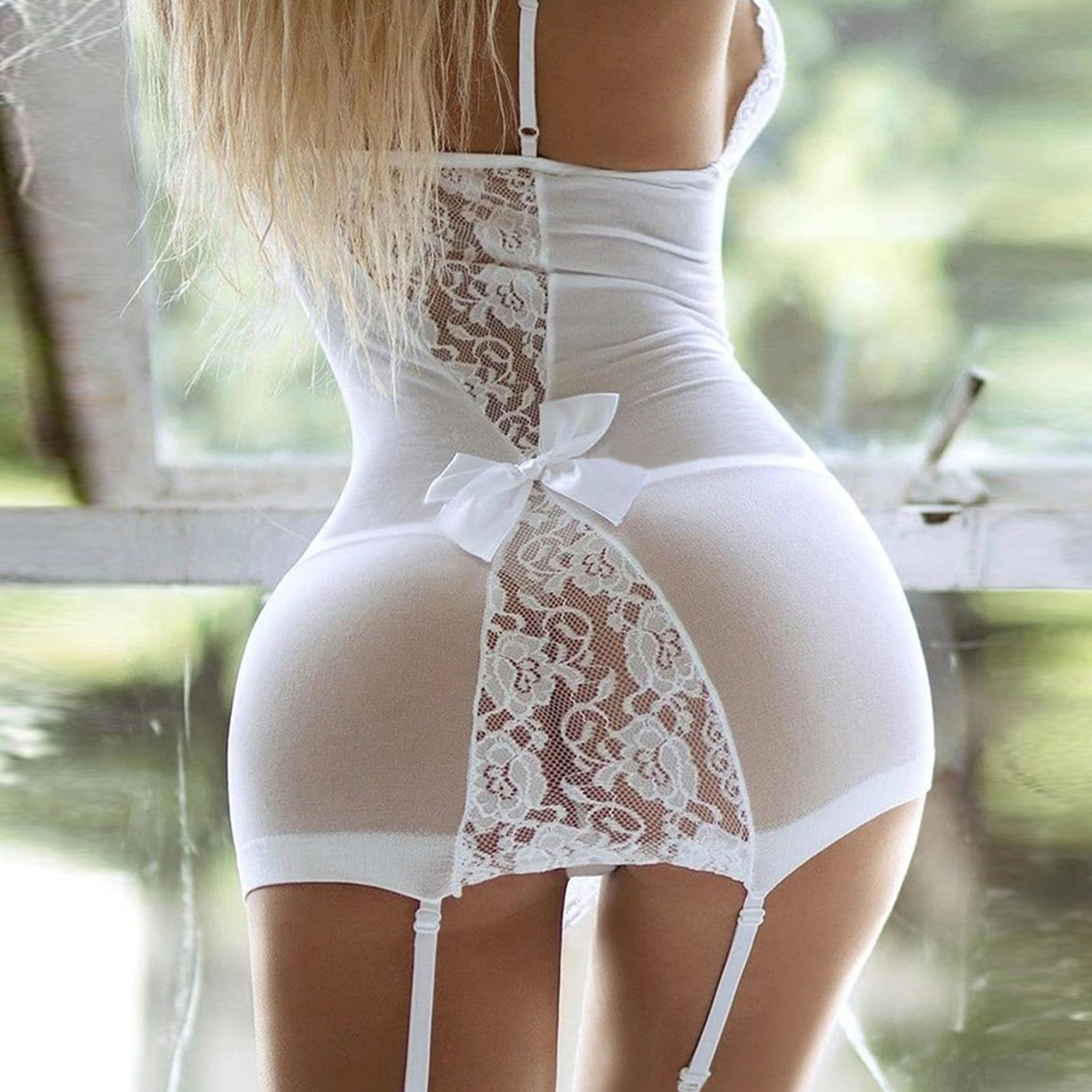 Sexy Lingerie V-Neck Lace Dress With G string