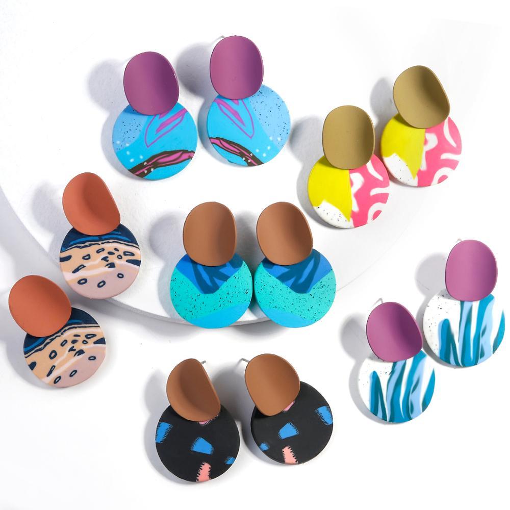 AENSOA Unusual Polymer Clay Drop Earrings 2021 Trendy Pendant Clay Earrings Cute Dangle Earring Gift for Women Fashion Jewelry