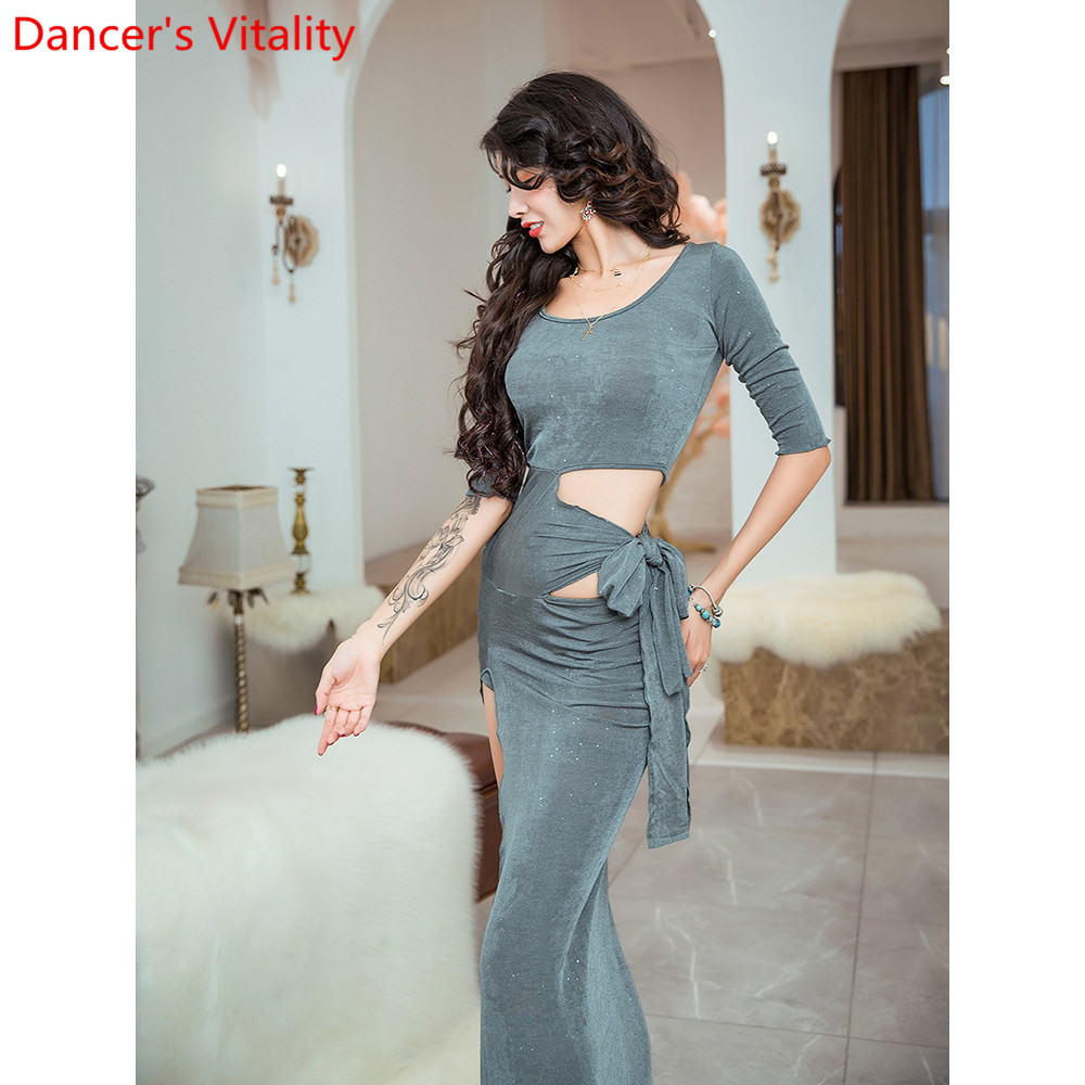 Belly Dance Practice Clothes Autumn Women Sexy Cut Out Long Dress Beginners Oriental Indian Dancing Group Training Outfits