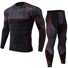 Mens Running Sportswear Suit Compression Tight T Shirt/Pants Set Jogging Sport Tracksuits Male Gym Training Leggings
