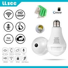 LLSEE Panoramic camera wi fi 1080p led light fisheye lamp cctv video surveillance home security burglar ip camera 360 degrees