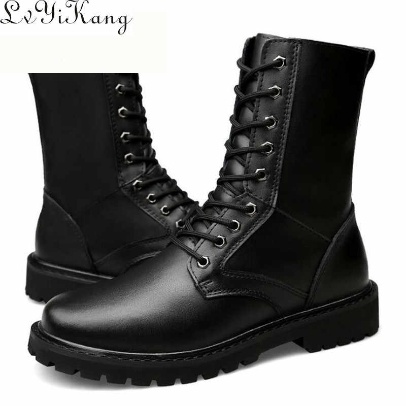 2019 Winter Men Mid-Calf Army boots Genuine leather Motorcycle boots Non-slip lace-up Outdoor work boots men Martin boots38-50