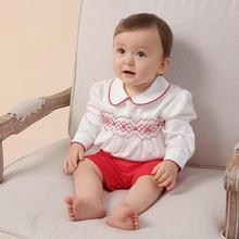 2021 Girls Clothes Set Spanish Newborn Infant Smocked Long Sleeve Blouse Red Shorts Suits Toddler Girl Cotton Smocking Outfits