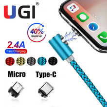 UGI 2 In 1 Magnetic Charging Cable 1M/2M/3M Braided Wire Micro USB Type-C Charger Cord For Samsung Galaxy S8 S9 S9+ S10 S10+ S20 hdsail led light cable fast charging micro usb type c cable led wire cord type c charger for iphone 7 8 xs max samsung s10 s9 s8