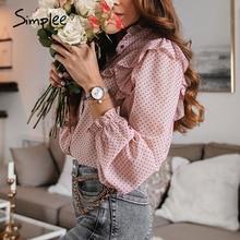 Simplee Vintage ruffled kadın bluz gömlek zarif nokta baskı düğmeleri kadın üstleri gömlek sonbahar bahar ofis bayanlar iş bluzları