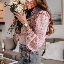 Simplee 빈티지 프릴 여성 블라우스 셔츠 우아한 도트 인쇄 버튼 여성 탑 셔츠 가을 봄 사무실 숙녀 작업 블라우스
