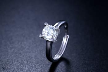 Kkmall Store Round Silver Moissanite Ring 1.00ct D VVS Luxury Moissanite Weding Ring for Women The adjustable