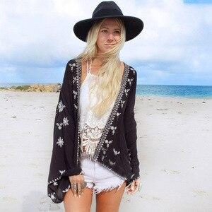 Пляжная шифоновая блузка размера плюс, кардиган-накидка с длинным рукавом летучая мышь, черное кимоно с принтом, шикарные рубашки в стиле бо...