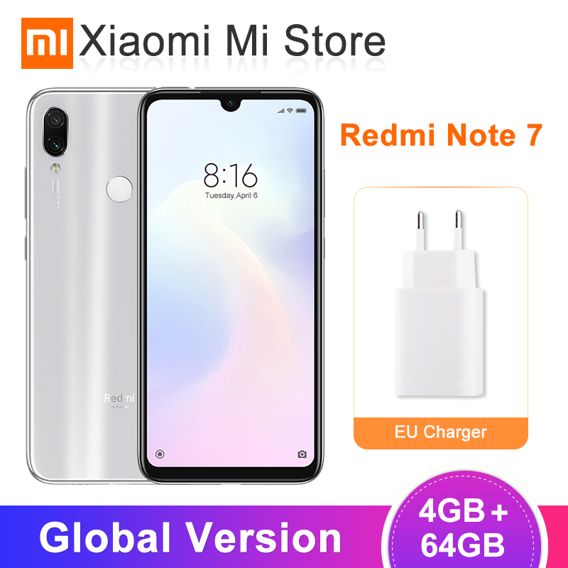 In Stock Global Version Xiaomi Redmi Note 7 4GB 64GB Smartphone Snapdragon 660 6.3'' Full Screen 48MP+5MP AI Dual Camera 4000mAh