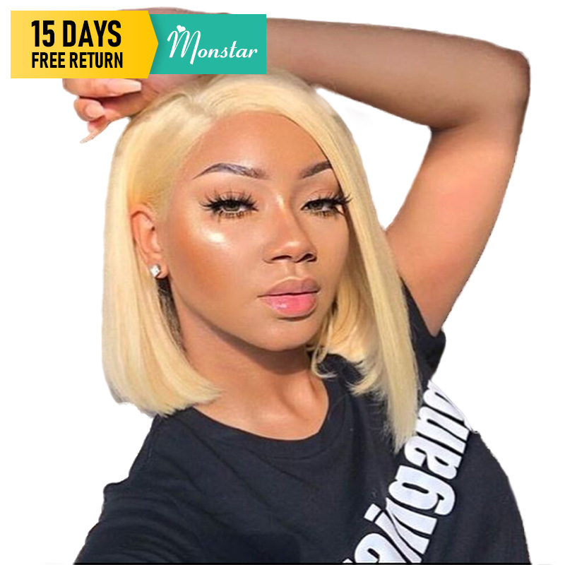 Monstar 13x6 613 Blonde Short Bob Wigs 150% Density Brazilian Straight 1B 613 Lace Wig Ombre Lace Front Human Hair Wig For Women