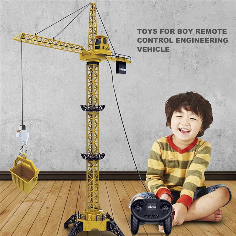 1.28 Meter Tower Crane Construction Toy Remote Control Tower Crane Toy For Kids Children Diecast Tower Slewing Crane Truck Model