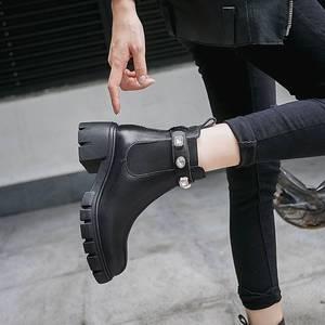 Image 4 - Krazingポットファッション光沢のあるクリスタルバックル本革ラウンドトウハイヒールビューティーレディ冬固体暖かいアンクルブーツL8f1