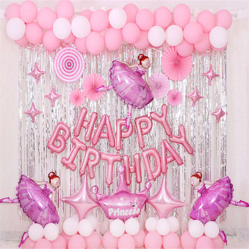 The Ballet Girl Theme Baby Party Decorations Set Newborn Baby Girls Birthday Party Baby Shower Party Children's Day