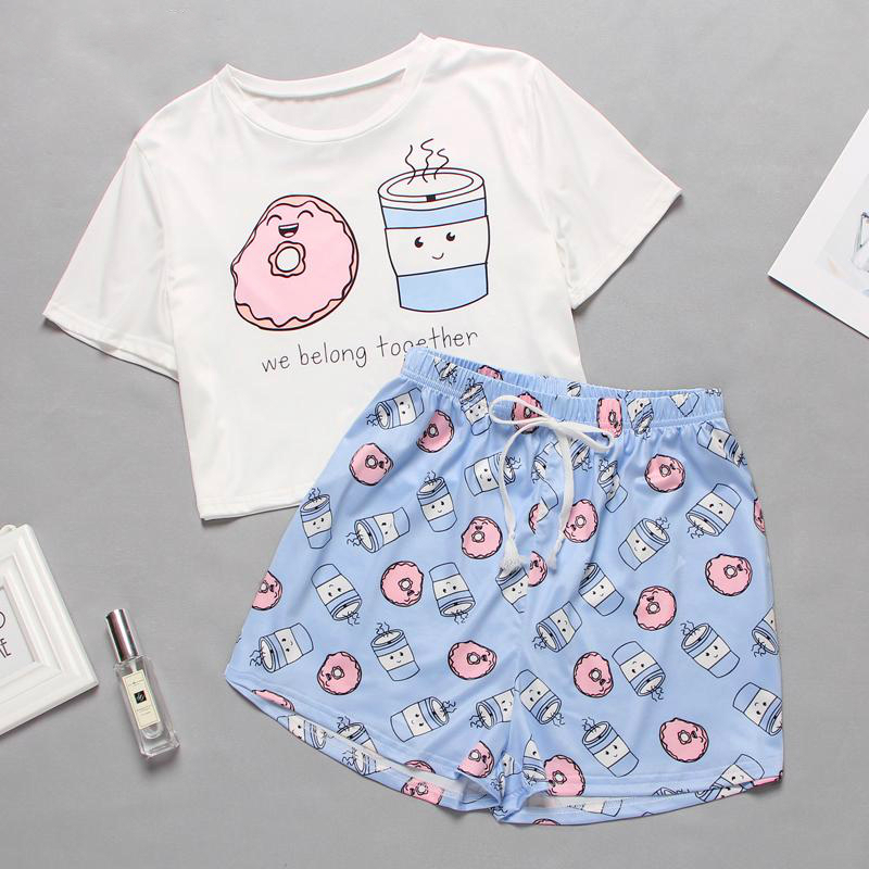 Women Summer Sleepwear Cute Cartoon Print Pajamas Pajama Set Sweet Short Sleeve T Shirts Shorts Spring Pijama Homewear