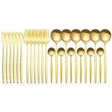 Juego de cubiertos de acero inoxidable, vajilla dorada de 24 Uds., cuchillo, tenedor y cuchara