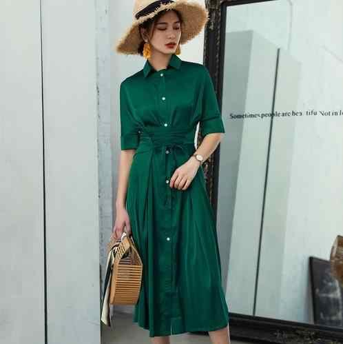 Şifon elbise kadın dantel Up kısa kollu yüksek bel seksi bölünmüş uzun elbiseler yaz kadın 2020 moda zarif LJ857