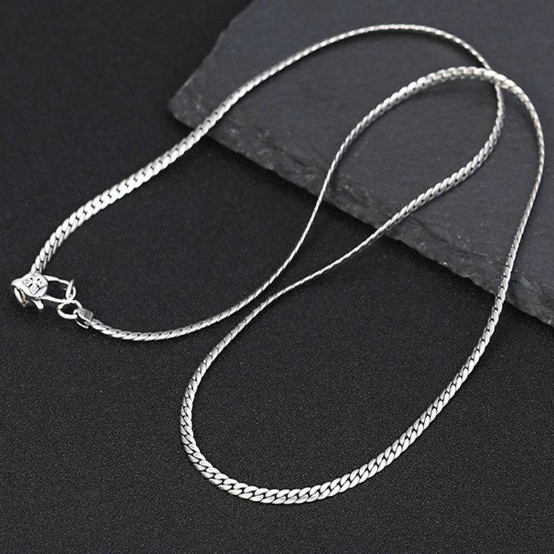 3mm*50/55CM Real 925 Sterling Silver Men Choker Necklace Fine Jewelry