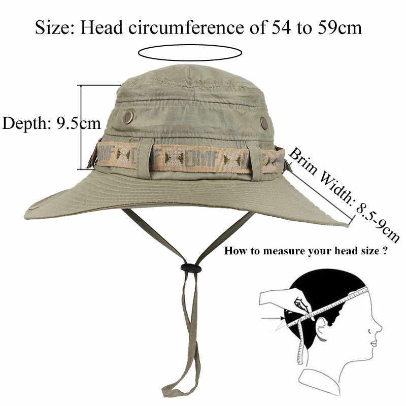 Tahan Air Ember Topi Musim Panas Pria Wanita Boonie Topi Perlindungan UV Luar Topi Panama Safari Berburu Hiking Memancing Berjemur Hat