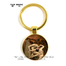One of the most famous works of art, Mona Lisa / Keith / Girl's Glass Pendant Jewellery discovery, key chain(China)