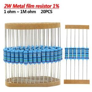20pcs 2W Metal film resistor 1% 1R ~ 1M 2.2R 4.7R 10R 22R 47R 100R 220R 470R 1K 10K 100K 2.2 4.7 22 47 100 220 470 ohm(China)