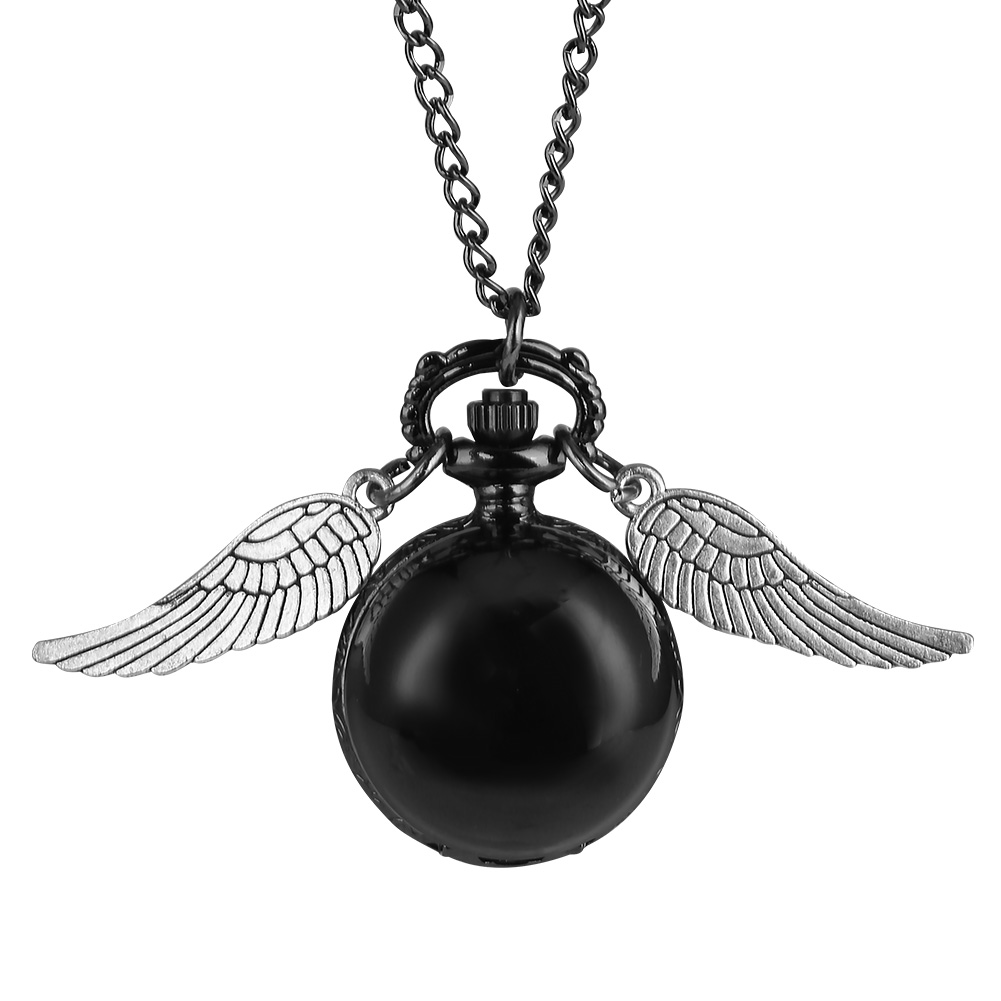 Concise Ball Wings Pocket Watch Girls Classic Quartz Necklace Pendant Watch For Kids Birthday Gift Reloj De Bolsillo Mujer