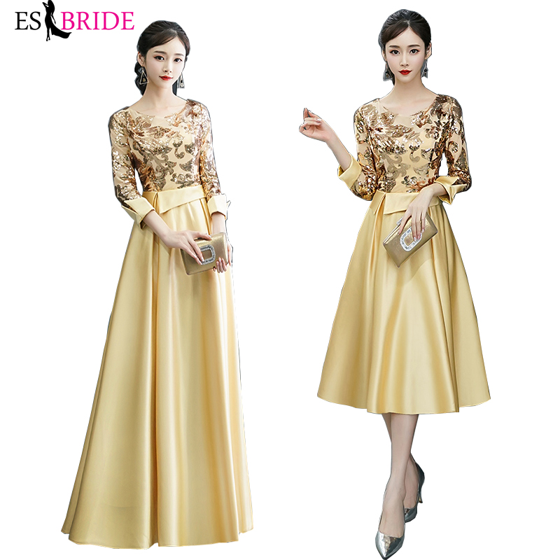 Formal 2019 Special Occasion Dresses A-line Vestidos Elegantes Gold Printing Muslim Evening Dress Women Evening Dress ES2436
