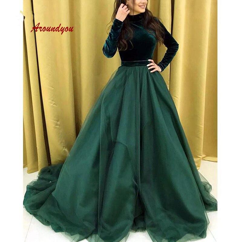 Velvet Long Sleeve Evening Dresses Party Arabic Dubai Muslim Plus Size Women Ladies Formal Dresses Evening Gown