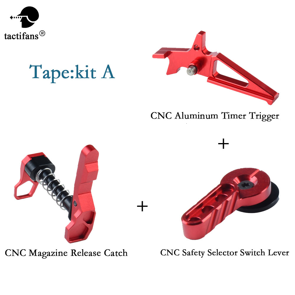 Aluminum IPSC CNC Timer Trigger Magazine Release Catch Safety Selector Switch Lever Set For M4/16 AEG Airsoft Accessories Red
